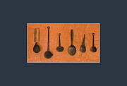 Ladles Framed Prints - Kitchen Tools Framed Print by Johannes Maurits