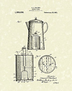 Pot Drawings Metal Prints - Kitchen Utensil 1921 Patent Art Metal Print by Prior Art Design