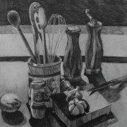 Spoon Drawings Prints - Kitchen utensils still life Print by Stephen Boyle