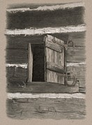 Log Cabin Art Drawings - Kitchen Window by Nancy Hilgert