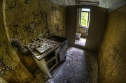 Derelict Prints - Kitchen with a loo Print by Nathan Wright