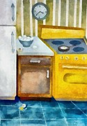 Home Appliance Posters - Kitchen with Broken Eggs Poster by Michelle Calkins