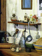 Hurricane Lamp Photos - Kitchen With Wire Basket of Eggs by Susan Savad