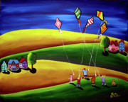 Kids Flying Kite Paintings - Kite Flyers  by Renie Britenbucher