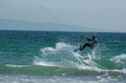 Tricks Prints - Kite surfer jumping over a wave Print by Sami Sarkis