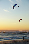 Kiteboarding Art - Kite surfers on beach at sunset by Sami Sarkis