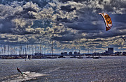 Kite Surfing Metal Prints - Kite Surfing at St Kilda Beach Metal Print by Douglas Barnard
