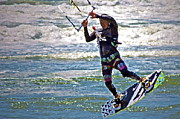 Kite Digital Art - Kite Surfing by Gwyn Newcombe