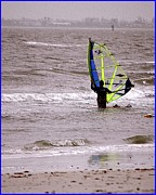 Plain Prints Framed Prints - Kite Surfing Framed Print by Kathleen Struckle