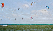 Kite Boarding Framed Prints - Kites over the Bay Framed Print by David Lee Thompson