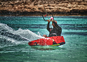 Enjoyment Photo Metal Prints - Kitesurfer Metal Print by Stylianos Kleanthous