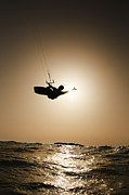 Para Surfing Prints - Kitesurfing at sunset Print by Hagai Nativ