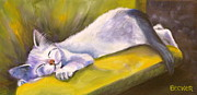 Animal Drawings Prints - Kitten Dream Print by Susan A Becker