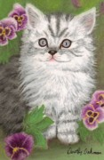 Yard Pastels Posters - Kitten in Pansies Poster by Dorothy  Oakman