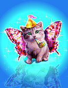 Party Hat Posters - Kitten With Party Horn Blower, Party Hat And Wings Poster by New Vision Technologies Inc