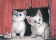 Portraits Drawings - Kittens and Red Barn by Mamie Greenfield