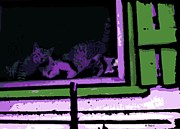 Kittens Digital Art - Kittens at the Window by George Pedro