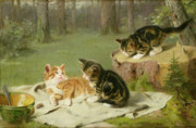 Cute Painting Posters - Kittens Playing Poster by Ewald Honnef