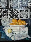 Seville Painting Prints - Kittens with Seville Oranges Print by Ralf Glasz