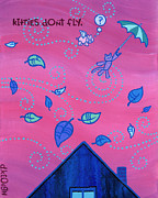 Kids Art Paintings - Kitties Dont Fly by Dan Keough