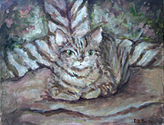 Gray Cat Paintings - Kitty Camo by Deborah Smith