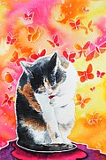 Licking Paws Posters - Kitty Cat Bliss Poster by Renata Wright