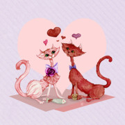 Furry Felines Painting Prints - Kitty cat love Print by Cindy Garber Iverson