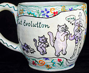 Humor Ceramics - Kitty Evolution by Joyce Jackson