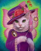 Fantasy Cats Paintings - Kitty Fairy Godmother by Sue Halstenberg