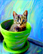 Kitten Digital Art - Kitty in the Pot by Karen Derrico