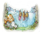 Washday Paintings - Kitty Washday by Sylvia Pimental