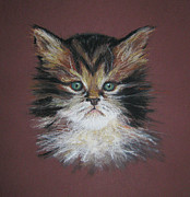 Creatures Pastels Posters - Kitty Poster by Wendy Marelli