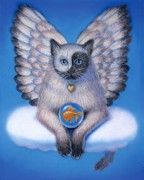 Yang Framed Prints - Kitty Yin Yang- Cat Angel Framed Print by Sue Halstenberg