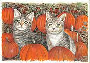 Pumpkins Paintings - Kittys and Pumpkins by Samuel Showman