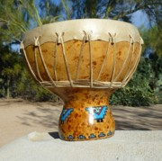 Native Art Pyrography Posters - Kiva Steps Medicine Drum Poster by C Whitehawk