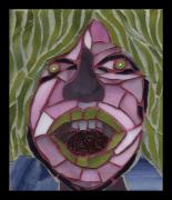 Kiwi Glass Art Framed Prints - Kiwi - Fantasy Face No. 10 Framed Print by Gila Rayberg
