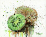 Splatter Paintings - Kiwi 1 by Arleana Holtzmann