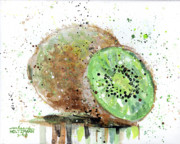 Drips Paintings - Kiwi 2 by Arleana Holtzmann