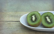 Wooden Bowl Prints - Kiwi Fruit Print by Iris Lehnhardt