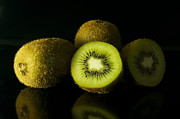 Tropic Pyrography Posters - Kiwi in black Background Poster by Noppharat Manakul