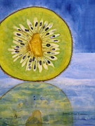 Kiwi Painting Prints - Kiwi Reflection Print by Anna Ruzsan