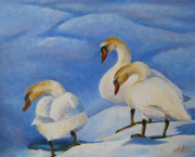 Waterfowl Paintings - KKs Swans by Deborah Dallinga