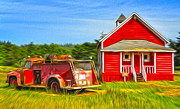 Klamath Old Fire Truck And Red School House Print by Gregory Dyer