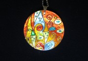 Hand Painted Jewelry - Klimt inspired mother of pearl hand painted pendant by Evelina Pastilati