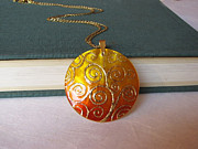 Hand Painted Jewelry - Klimt Tree Of Life Pendant Mother Of Pearl Painted By Hand by Evelina Pastilati