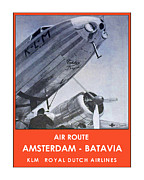 Dutch Mixed Media Framed Prints - KLM Amsterdam Batavia Framed Print by Nick Diemel