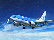 Klm Prints - KLM Boeing 737 lands at AMS Print by Nop Briex