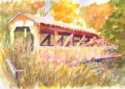 Covered Bridge Paintings - Knapps Covered Bridge  by Robert Haeussler