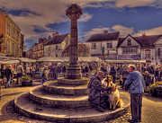 John Adams Digital Art Framed Prints - Knaresborough market square Framed Print by John Adams