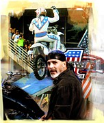 Lithographs Photos - KNIEVEL AMERICAN TRADITION   Robbie Knievel by Iconic Images Art Gallery David Pucciarelli
